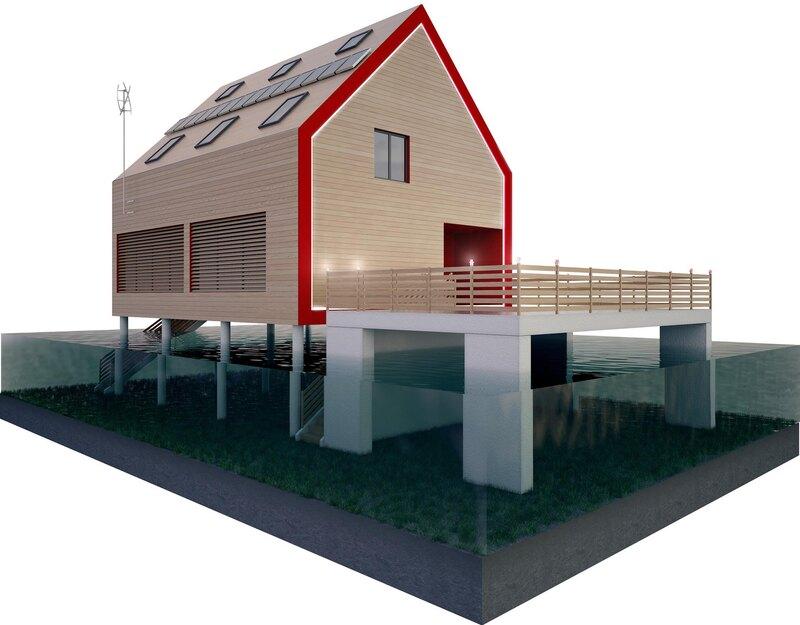 Бетонные колонны в надземном защищенном от наводнений доме