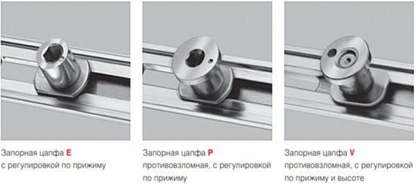 Фото разных запорных элементов с возможностью регулировки прижима