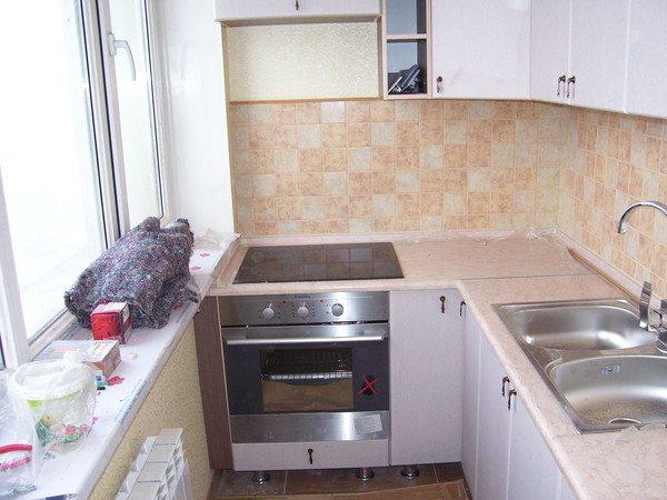 Как можно из лоджии сделать кухню 593