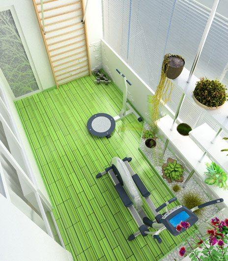 оригинальный просторный спортивный зал на балконе