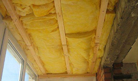 потолок, утеплённый минватой