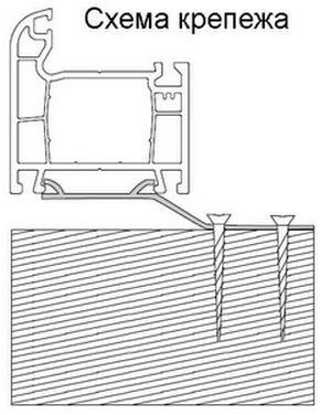 схема крепления в деревянный брус