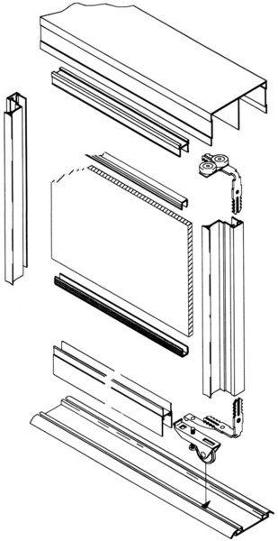 схема верхне-подвесного (подъёмно-сдвижного) открывания
