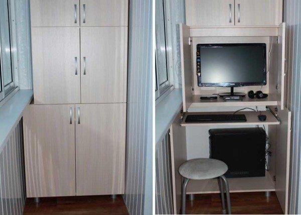 Шкаф на балконе может использоваться не только как место для хранения, это еще прекрасный способ оборудовать рабочее место.