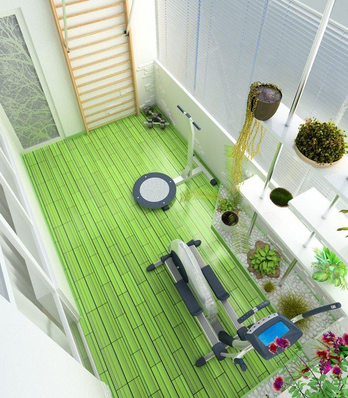 спортивный уголок на балконе гарантирует здоровье и прекрасное настроение