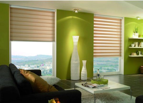 Вы можете регулировать интенсивность естественного освещения с помощью рулонных штор
