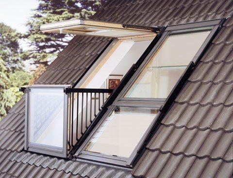 Балконы-окна Cabrio в разложенном и сложенном состоянии