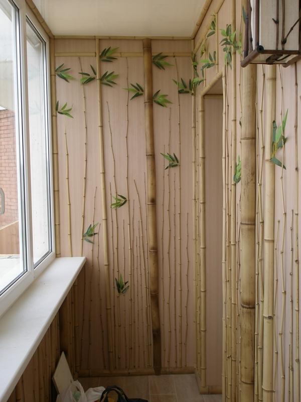 Бамбуковые обои лоджия.
