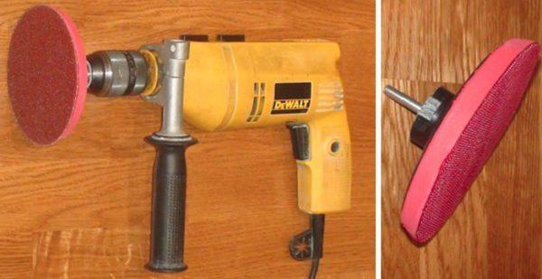 Диск закрепляется в патроне и получается мобильный и удобный инструмент для шлифовки стекла