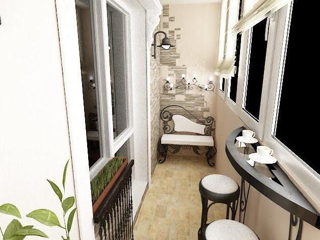 Грамотно подобранная отделка способна правильно передать настроение выбранного стиля в оформлении балкона