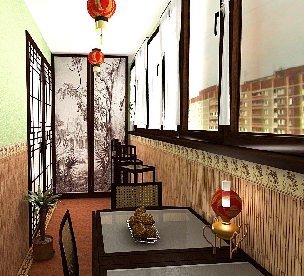 Вариант оформления балкона в восточном стиле
