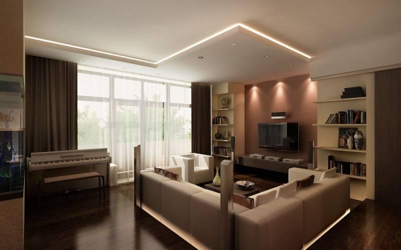 Удачный дизайн гостиной совмещенной с лоджией превратит даже маленькое помещение в стильную, комфортную и неожиданно просторную комнату