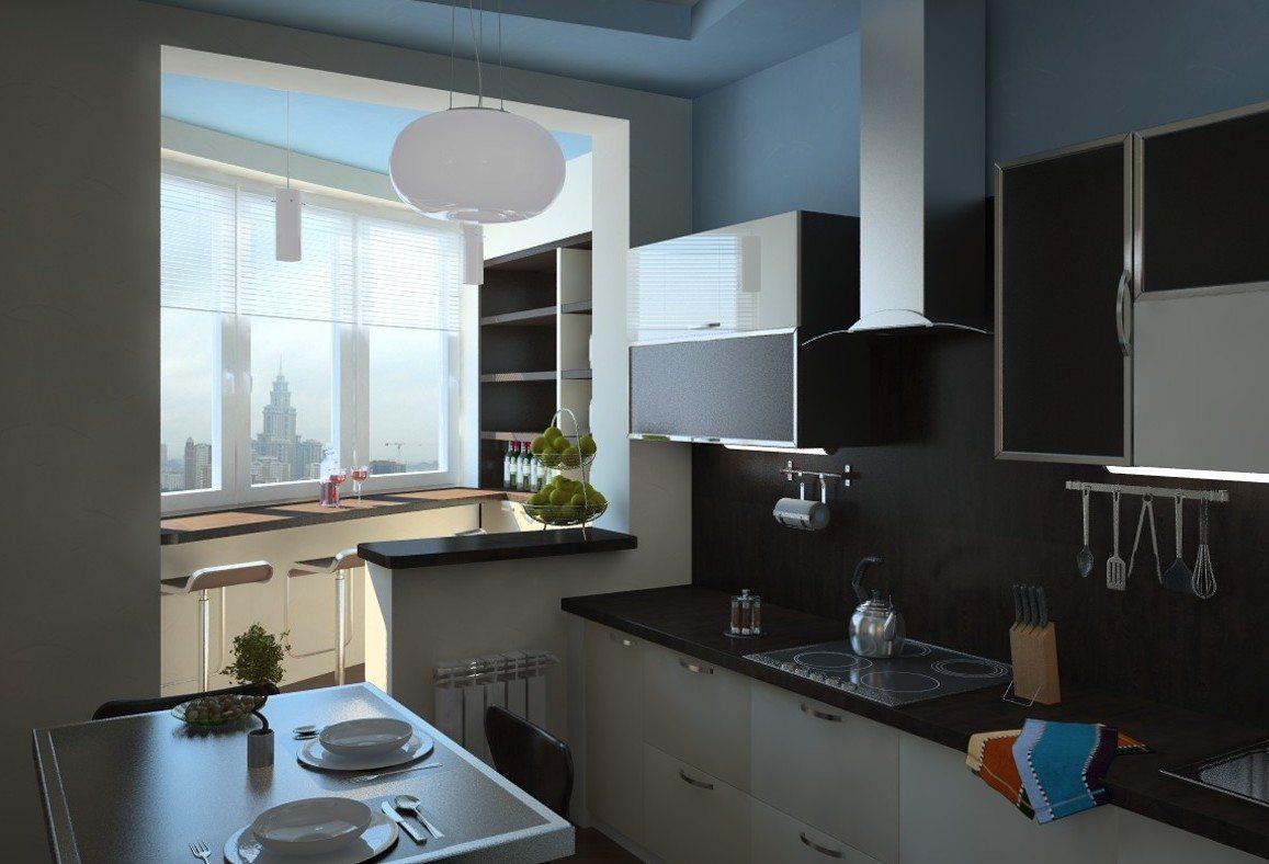 дизайн кухни с совмещенной лоджией