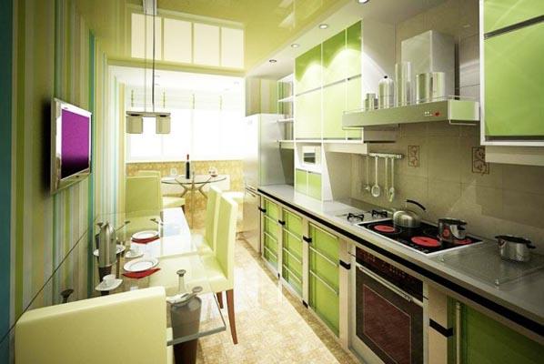 Современный оригинальный дизайн лоджии на кухни отделяет зону отдыха именно на лоджии, а на кухне - обеденный стол и гарнитур с печкой