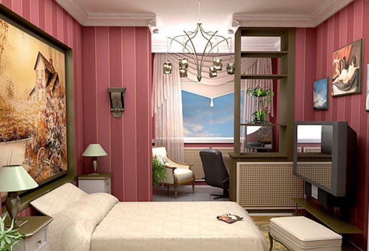Дизайн спальня совмещенная с балконом фото