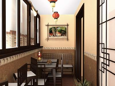 Японский стиль в интерьере балкона