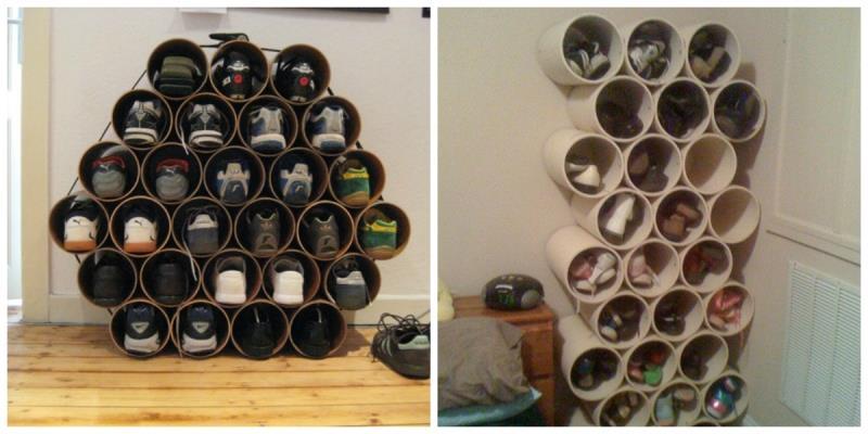 Из труб ПВХ можно собрать очень удобную и оригинальную полку для обуви