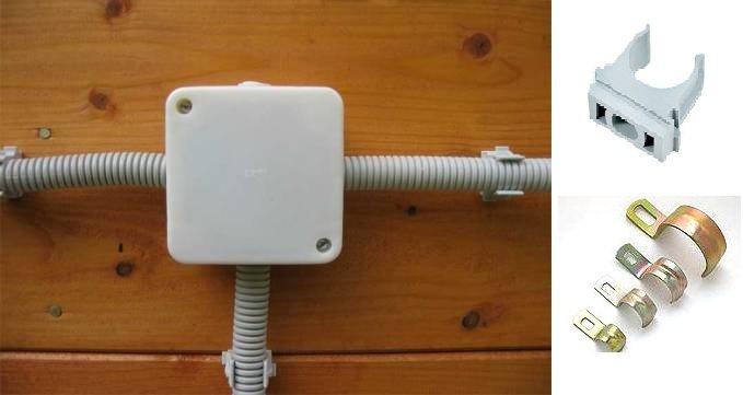 Закрепление монтажной коробки и гофры с электрокабелем