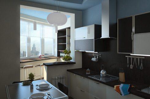 совместить балкон с кухней фото