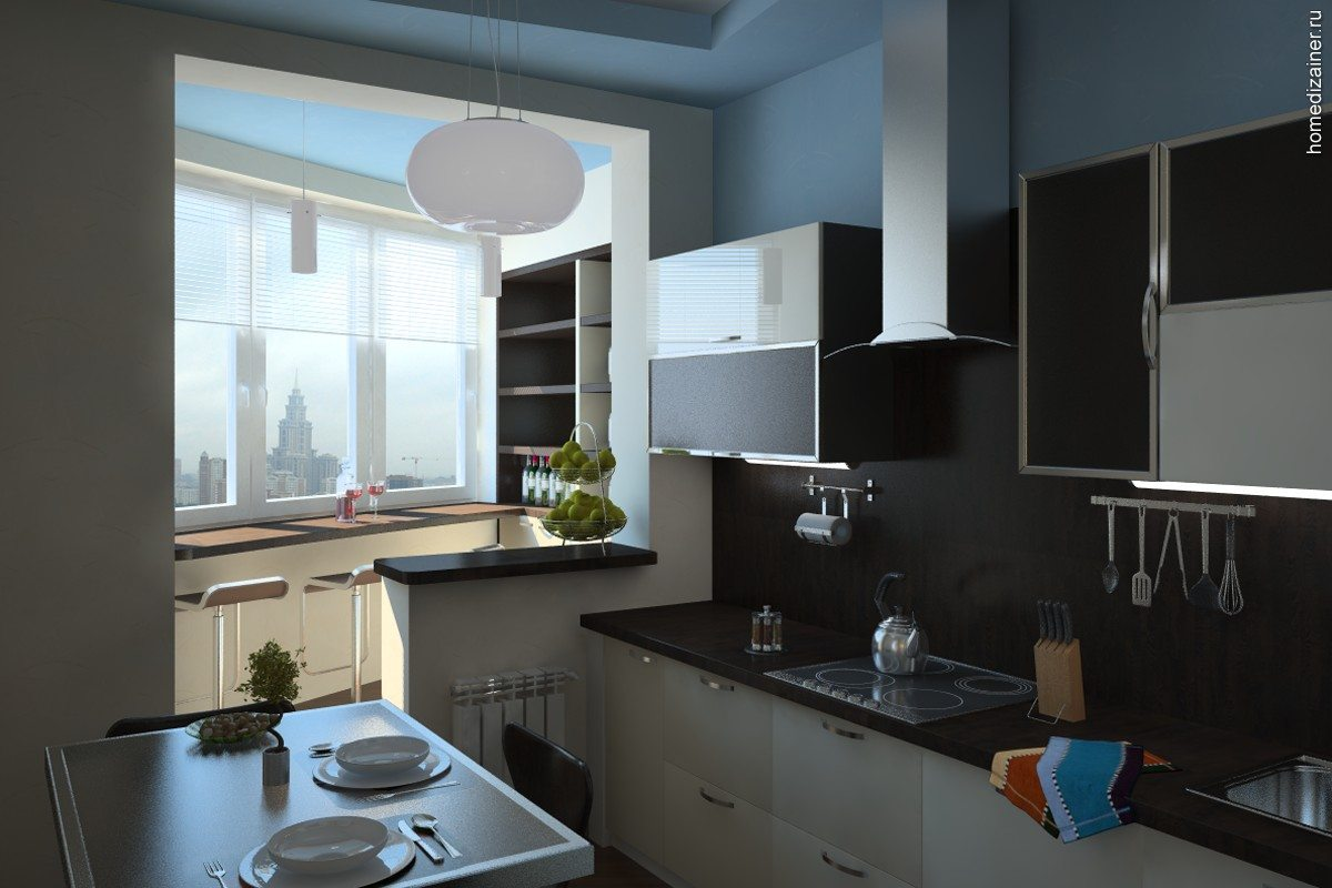 Лоджия совмещенная с кухней: фото интерьера.