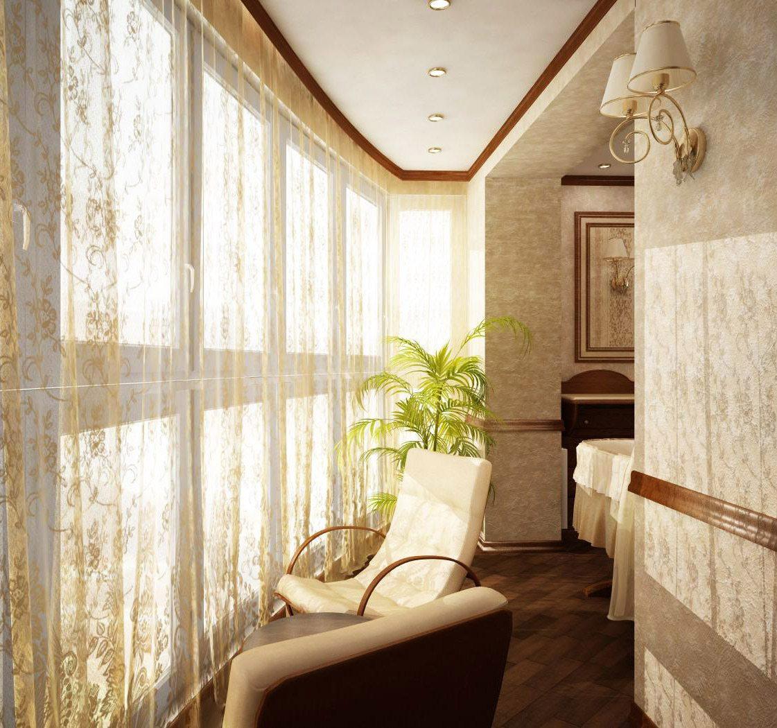 Лоджия, соединённая с комнатой увеличивает и украшает помещение