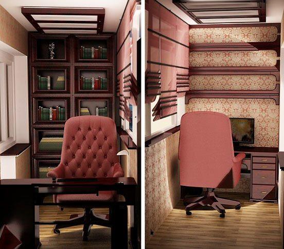 Рабочий кабинет с библиотекой на лоджии
