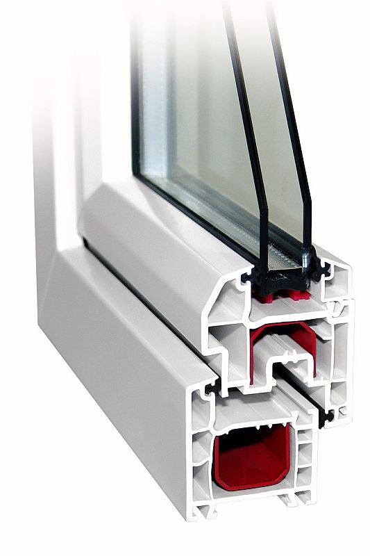 Однокамерное ПВХ окно в разрезе