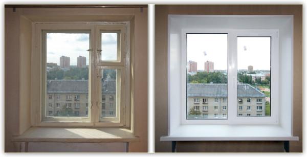Любительское фото, на котором для сравнения представлены обычные откосы и конструкция, изготовленная из ПВХ