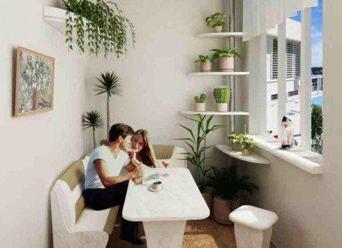 Комфортное и красивое мебельное оснащение лоджии
