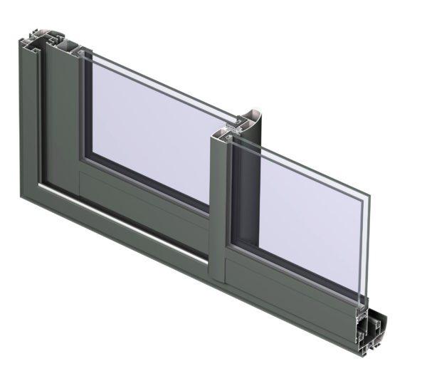 Модель, показывающая рамные и створочные профили, а также закрепление стеклопакетов