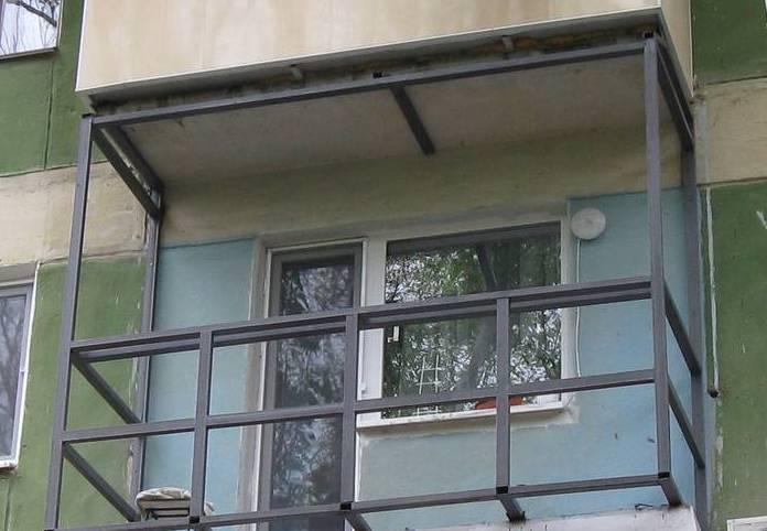 Металлический каркас балкона в полном объёме