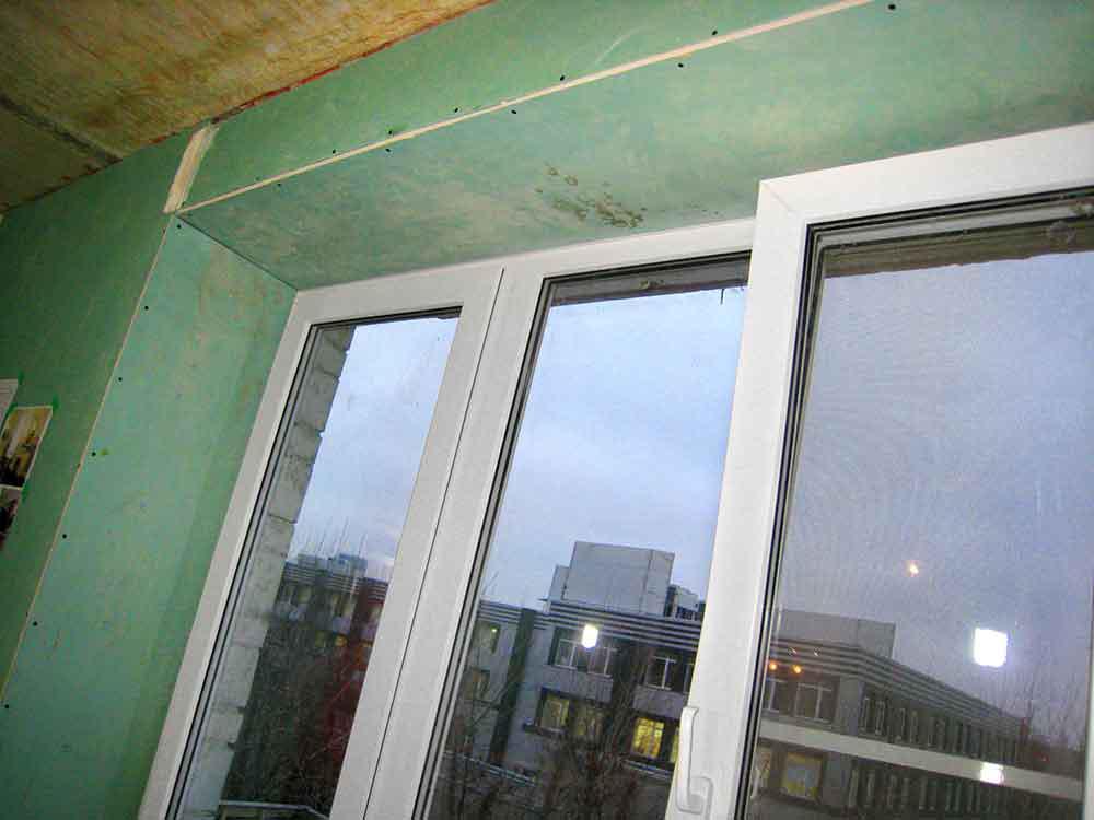 Обшить окно гипсокартоном