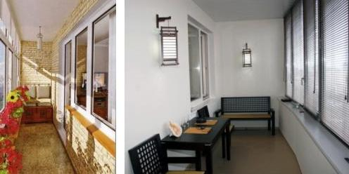 Настенные бра в качестве освещения застекленного балкона