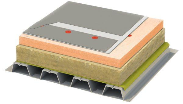 Схема утепления плоской нагруженной крыши.