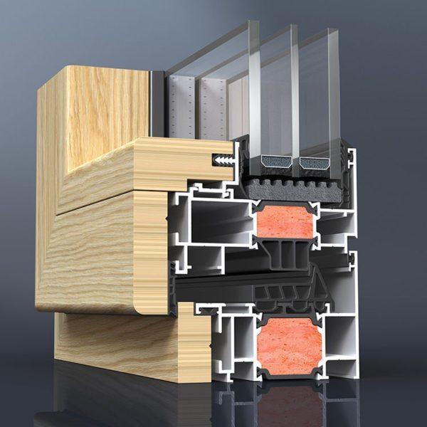 Сочетание алюминиевой конструкции с деревянными накладками