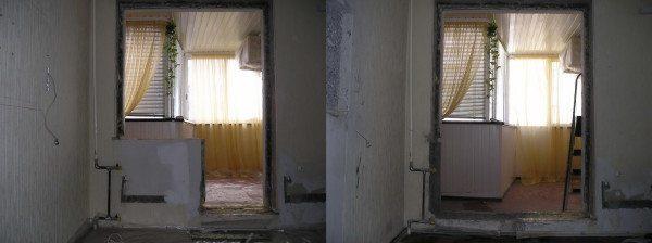 Лоджия до и после демонтажа перегородки