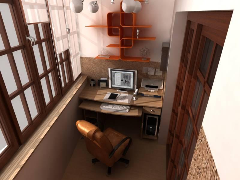 стильный рабочий кабинет на балконе