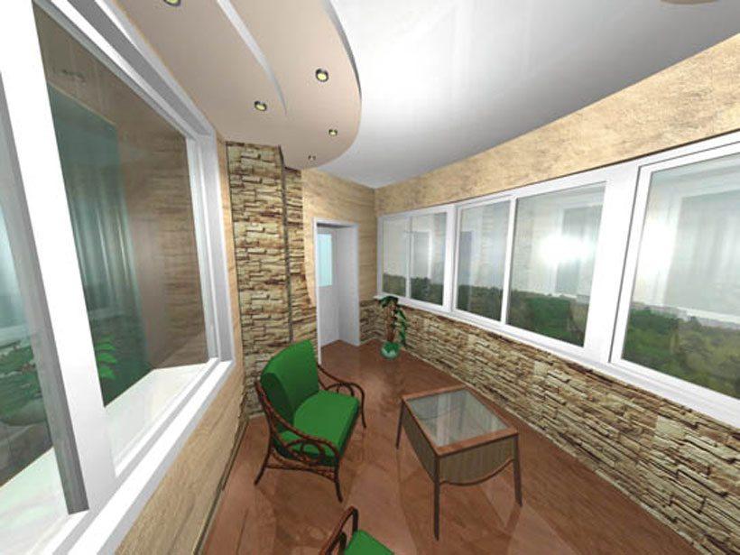 Оформление лоджии в виде комнаты отдыха