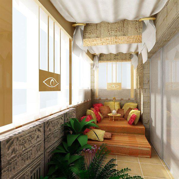Лоджия в дизайне восточного стиля